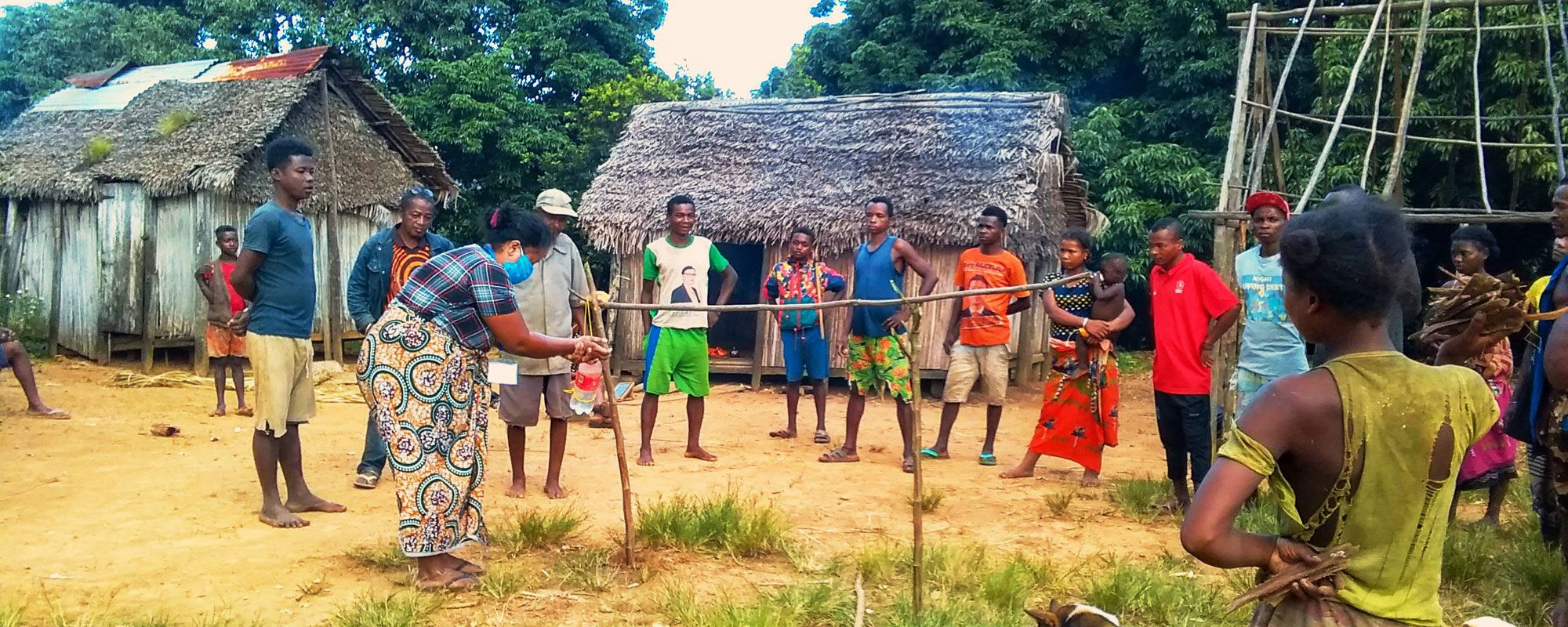 A rural sanitation session in progress in remote Anosy region southeast Madagascar