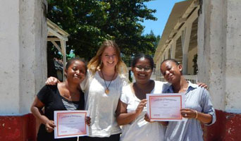 English students display their certificates