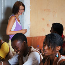 An Azafady English teaching volunteer with her students