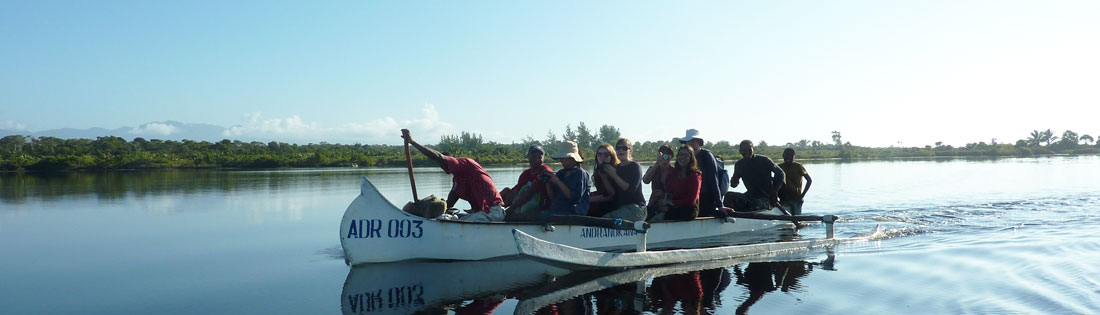 Volunteers on a pirogue