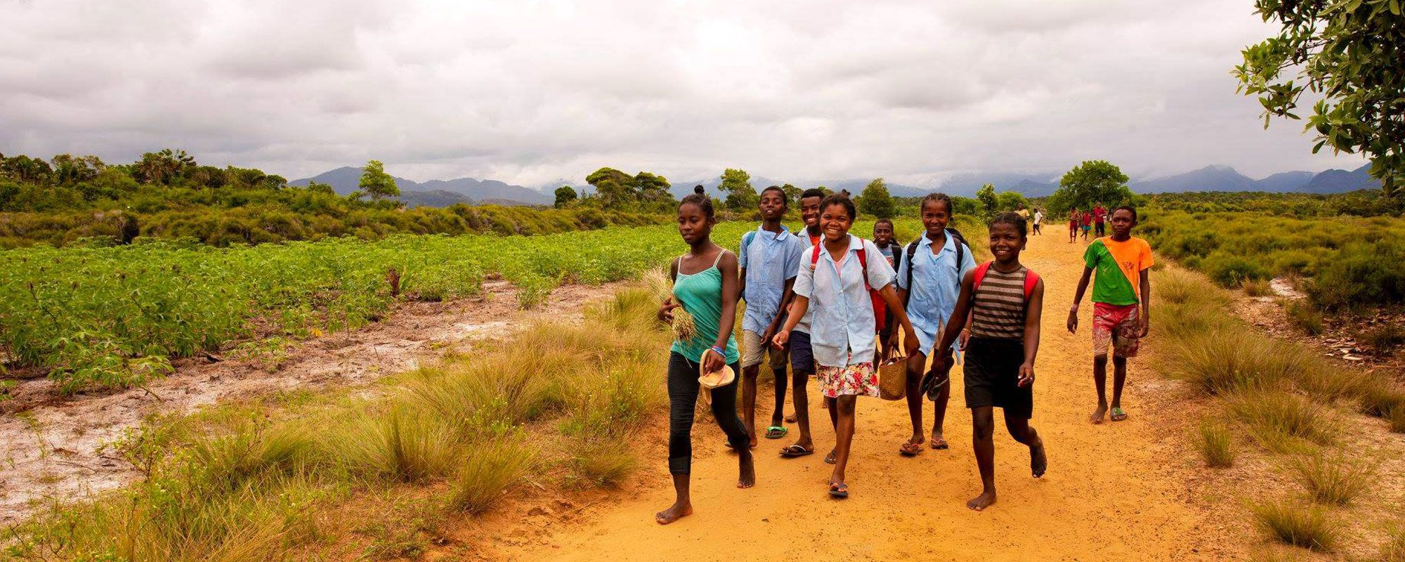 Girls walking to school in a rural area of southeast Madagascar