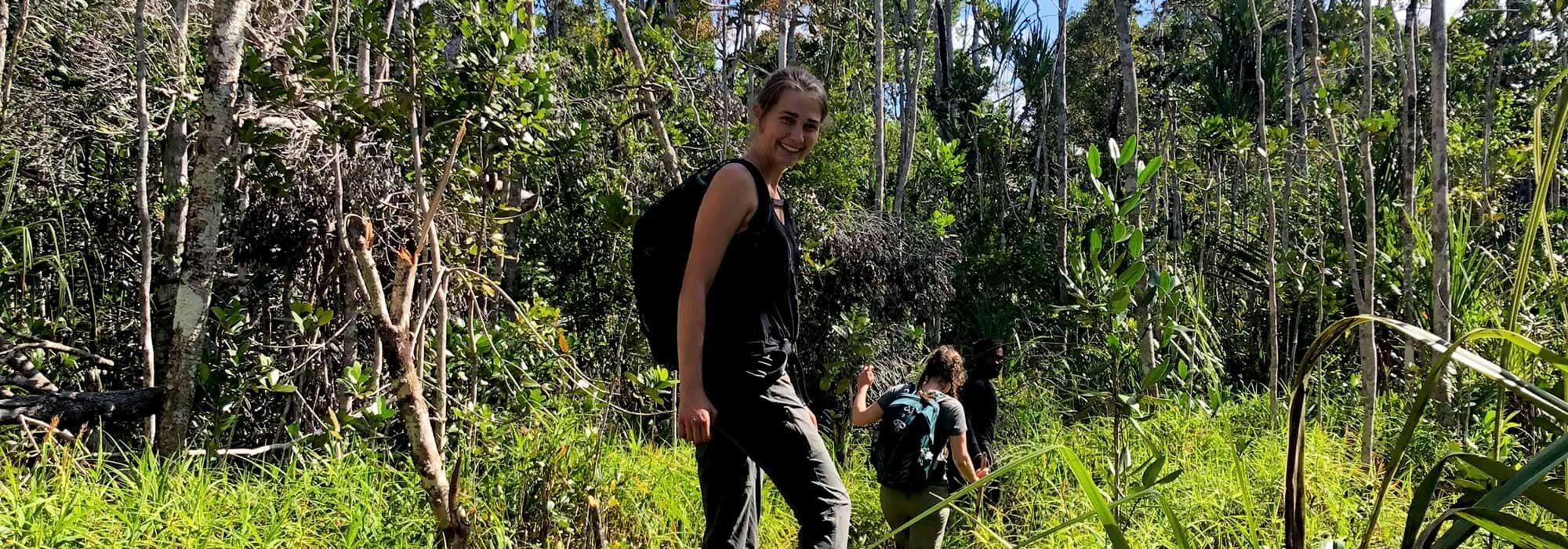 Morgan in the forest in Sainte Luce, Madagascar