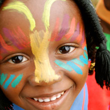 Child with facepaint at World Environment Day