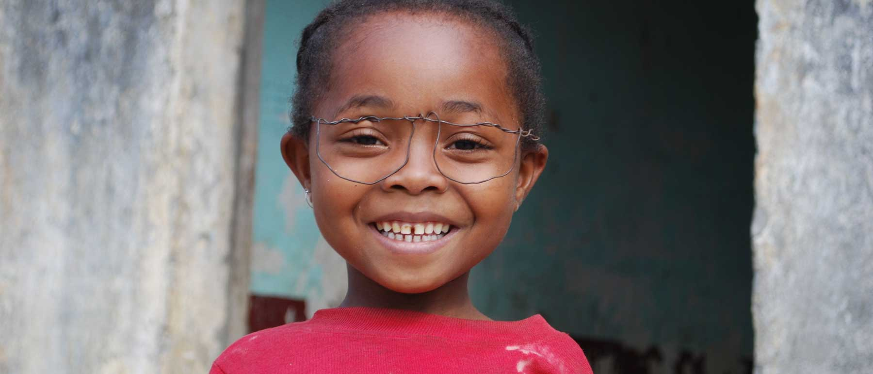 Happy child with glasses in southeast Madagascar